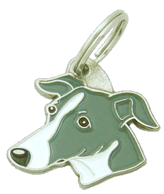 pet tag-WHIPPET GREY WHITE