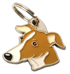 pet tag-WHIPPET WHITE BROWN