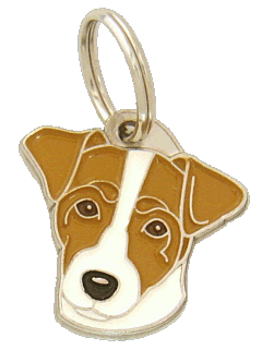 pet tag-RUSSELL TERRIER WHITE AND BROWN