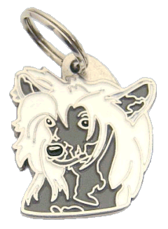 pet tag-CHINESE CRESTED DOG WHITE GREY