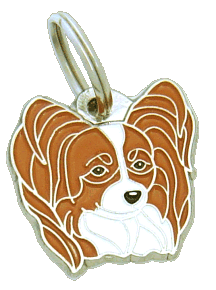 pet tag-PAPILLON WHITE & RED
